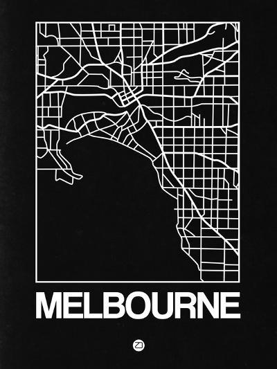 Black Map of Melbourne-NaxArt-Art Print