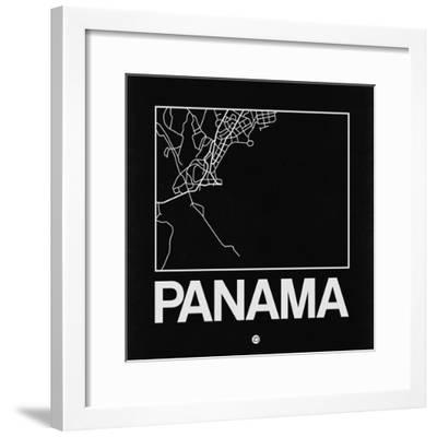 Black Map of Panama-NaxArt-Framed Premium Giclee Print