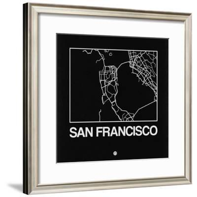 Black Map of San Francisco-NaxArt-Framed Premium Giclee Print