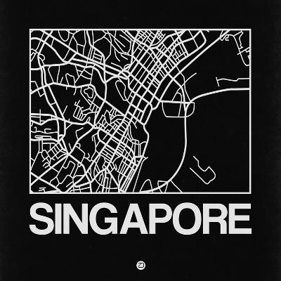 Black Map of Singapore-NaxArt-Art Print