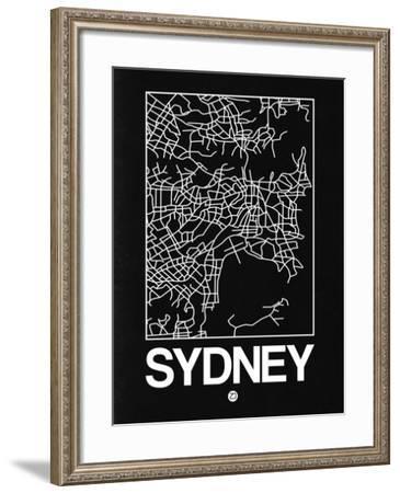 Black Map of Sydney-NaxArt-Framed Art Print