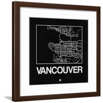 Black Map of Vancouver-NaxArt-Framed Premium Giclee Print