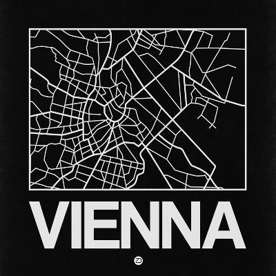 Black Map of Vienna-NaxArt-Art Print