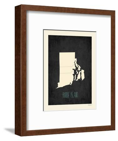 Black Map Rhode Island-Kindred Sol Collective-Framed Art Print