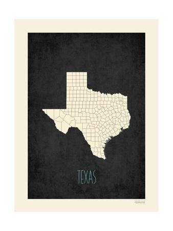 Black Map Texas-Kindred Sol Collective-Premium Giclee Print