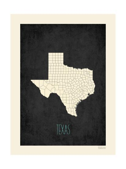Black Map Texas-Kindred Sol Collective-Art Print