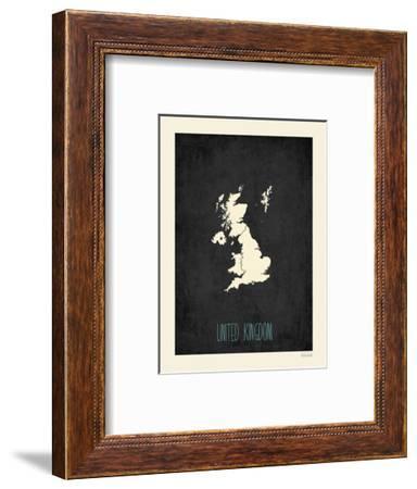 Black Map United Kingdom-Kindred Sol Collective-Framed Art Print