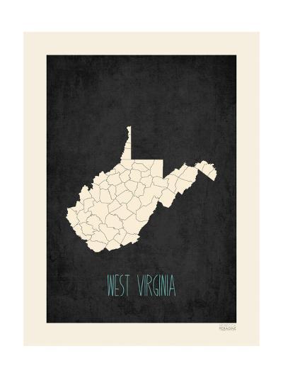 Black Map West Virginia--Art Print