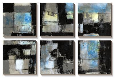 Black on Blue-Jennifer Goldberger-Canvas Art Set