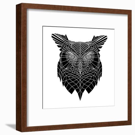Black Owl Head Mesh-Lisa Kroll-Framed Art Print