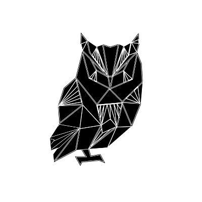 Black Owl Polygon-Lisa Kroll-Art Print