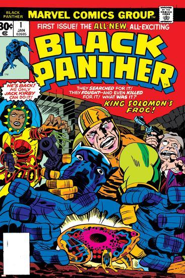 Black Panther No.1 Cover: Black Panther, Little, Abner and Princess Zanda Fighting-Jack Kirby-Art Print