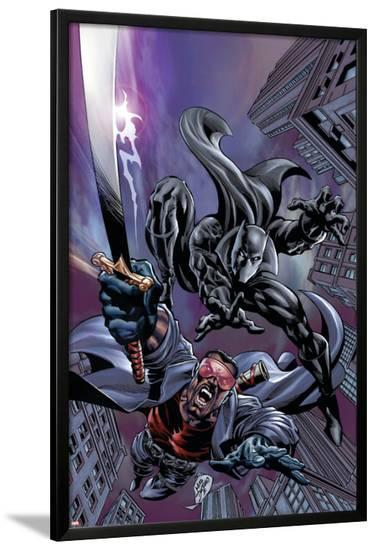Black Panther No.12 Cover: Black Panther and Blade-Scot Eaton-Lamina Framed Poster