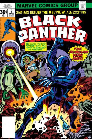 Black Panther No.2 Cover: Black Panther, Princess Zanda and Hatch-22 Charging-Jack Kirby-Art Print