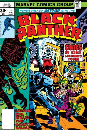 Black Panther No.3 Cover: Black Panther, Princess Zanda, Hatch-22, Little and Abner Charging-Jack Kirby-Art Print