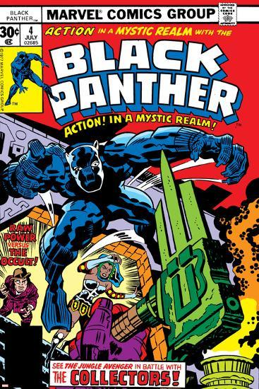 Black Panther No.4 Cover: Black Panther, Princess Zanda, Little and Abner Fighting-Jack Kirby-Art Print