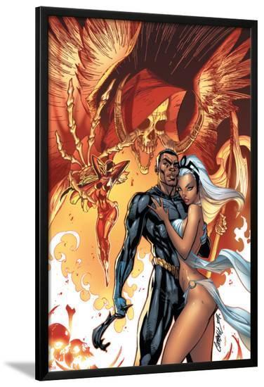 Black Panther No.5 Cover: Black Panther and Storm-J. Scott Campbell-Lamina Framed Poster