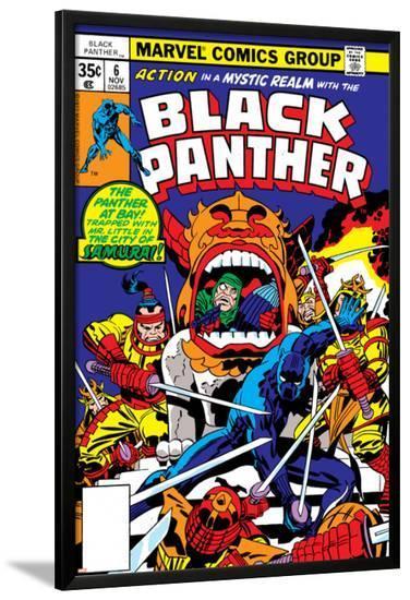 Black Panther No.7 Cover: Black Panther Charging-Jack Kirby-Lamina Framed Poster