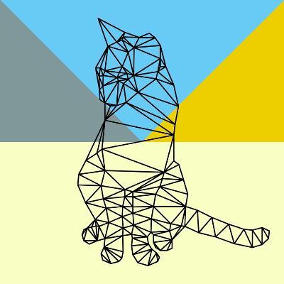 Black Party Cat Polygon-Lisa Kroll-Art Print