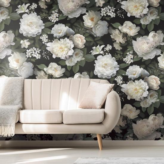 Black Photographic Floral Peel Stick Wallpaper Mural Wall Mural Art Com