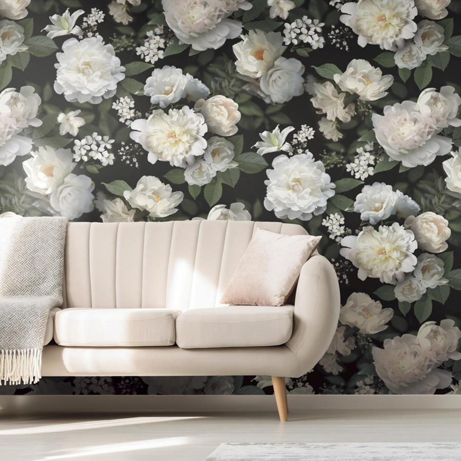 Black Photographic Floral Peel Stick Wallpaper Mural Wall Mural