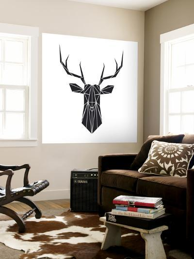 Black Polygon Deer-Lisa Kroll-Wall Mural