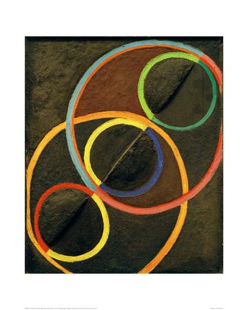 Black Relief with Colour Circles, 1930/32-Robert Delaunay-Giclee Print