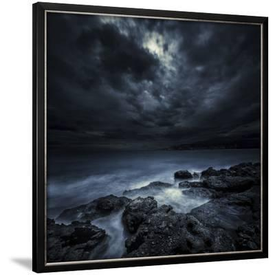 Black Rocks Protruding Through Rough Seas with Stormy Clouds, Crete, Greece--Framed Photographic Print