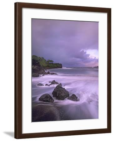 Black Sand Beach, Waianapanapa State Park, Maui, Hawaii, Usa-Tim Fitzharris-Framed Photographic Print
