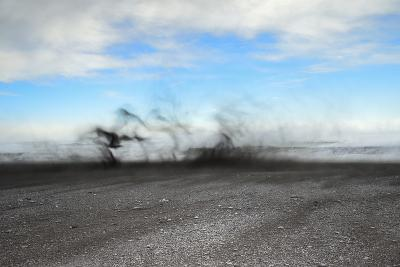 Black Sand Blows in High Winds on Basalt Beach in South Iceland-Chad Copeland-Photographic Print