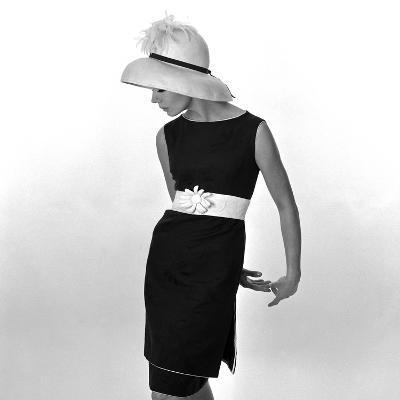 Black Sleeveless Dress with White Belt, 1960s-John French-Giclee Print