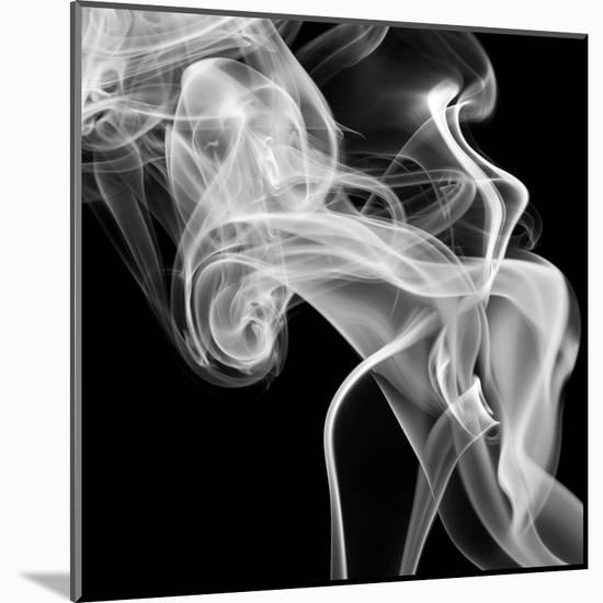 Black Smoke Abstract Square-GI ArtLab-Mounted Premium Photographic Print