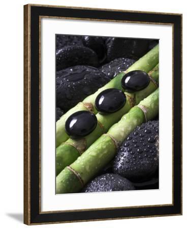 Black Stones on Bamboo-Uwe Merkel-Framed Photographic Print