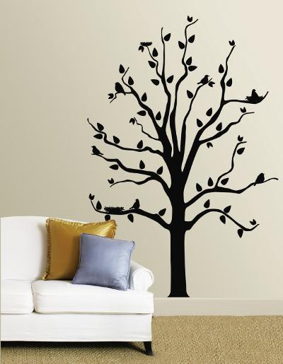Black Tree With Birds--Wall Decal