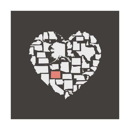 Black USA Heart Graphic Print Featuring Colorado-Kindred Sol Collective-Art Print