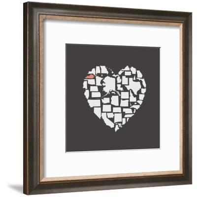 Black USA Heart Graphic Print Featuring Kentucky-Kindred Sol Collective-Framed Art Print