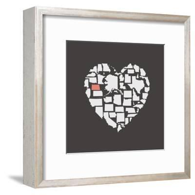 Black USA Heart Graphic Print Featuring North Dakota-Kindred Sol Collective-Framed Art Print