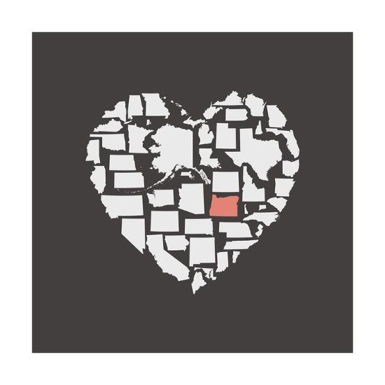 Black USA Heart Graphic Print Featuring Oregon-Kindred Sol Collective-Art Print