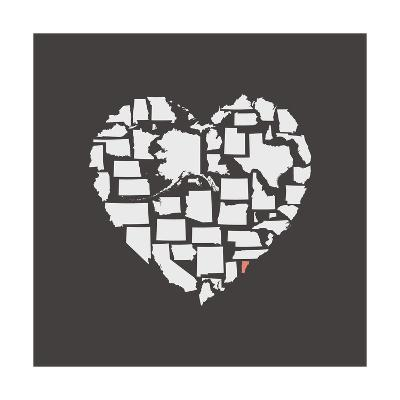 Black USA Heart Graphic Print Featuring Vermont-Kindred Sol Collective-Art Print
