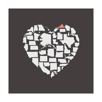 Black USA Heart Graphic Print Featuring Virginia-Kindred Sol Collective-Art Print