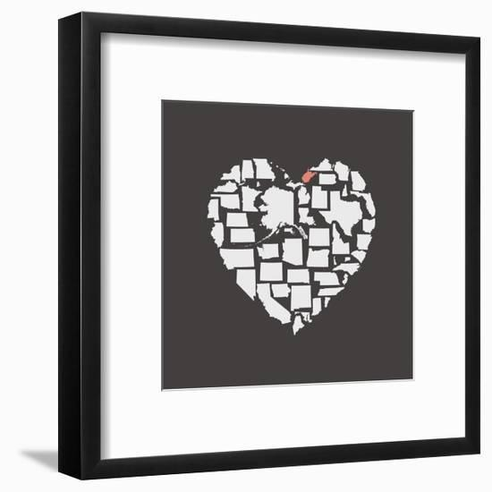 Black USA Heart Graphic Print Featuring West Virginia-Kindred Sol Collective-Framed Art Print