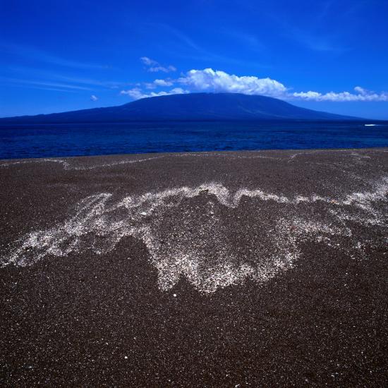 Black Volcanic Sand Beach on Isla Fernandina, Isla Fernandina, Galapagos, Ecuador-Wes Walker-Photographic Print