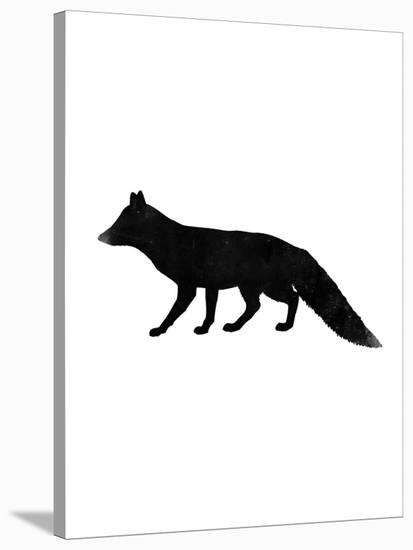 Black White Faded Fox-Jetty Printables-Stretched Canvas Print