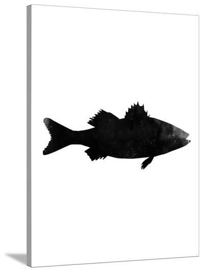 Black White Faded Sea Bass-Jetty Printables-Stretched Canvas Print