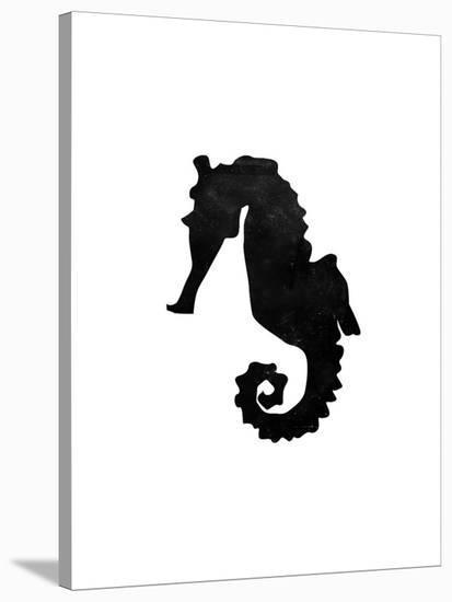 Black White Faded Seahorse-Jetty Printables-Stretched Canvas Print