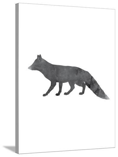 Black White Fox-Jetty Printables-Stretched Canvas Print