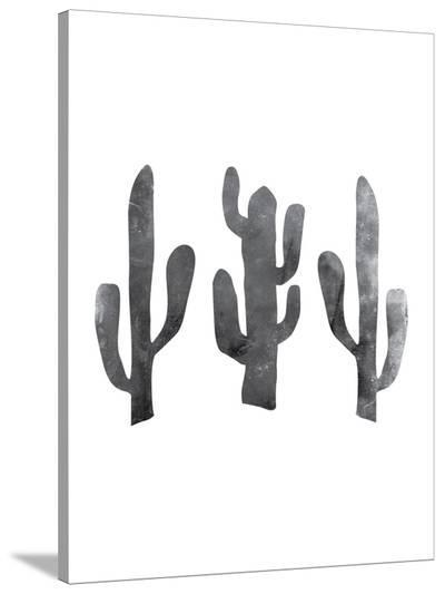 Black White White Cactus-Jetty Printables-Stretched Canvas Print