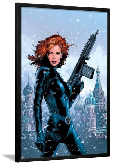 Black Widow No.1 Cover: Black Widow Fighting-Greg Land-Lamina Framed Poster