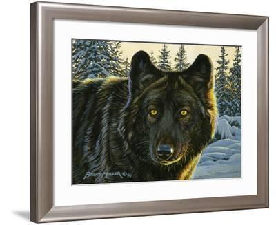 Black Wolf-Bruce Miller-Framed Giclee Print