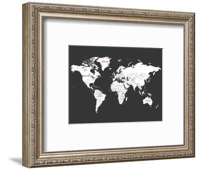 Black World Map-Kindred Sol Collective-Framed Art Print